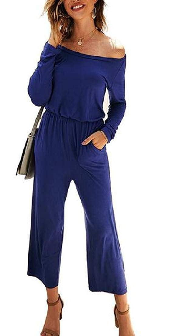 SELX Women One-Shoulder Long Sleeve Casual Wide Leg Jumpsuit Romper with Pockets