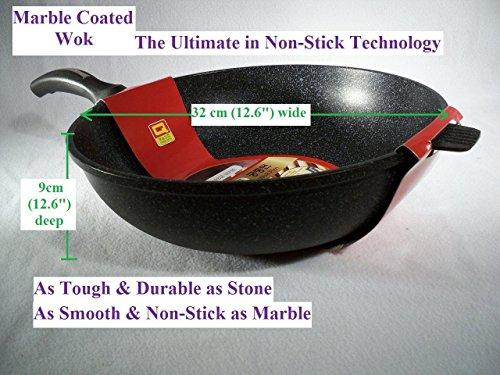 Ceramic Marble Coated Cast Aluminium Non Stick Wok 32 Cm (Non Stick Chinese Wok)