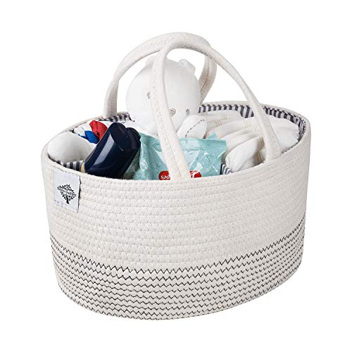 ShiShu Creations Cotton Rope Diaper Caddy | Nursery Storage Bin and Car Organizer for Diapers and Baby Wipes | Storage Basket for Newborn Essentials | Baby Shower Gift for Boys and Girls