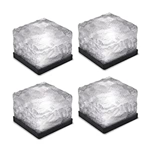 KingYuan Outdoor Solar Lighting Waterproof Ice Cube Square Lights Brick paver Underground Buried Light for Patio Landscape Driveway Garden 4PCS & Colorful