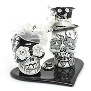 Black And White Gothic Wedding Day Of The Dead Wedding Cake Toppe