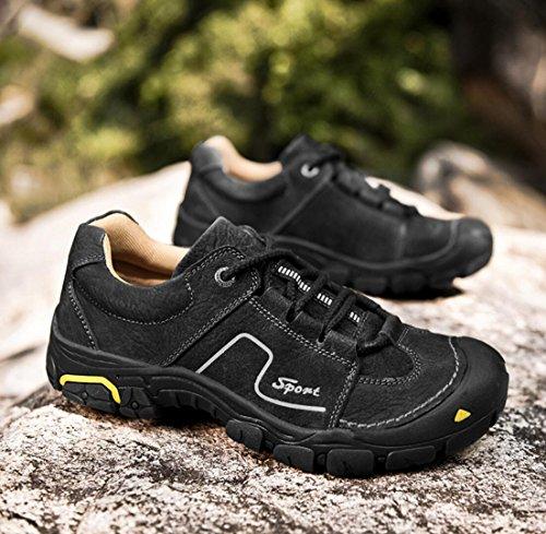 WSK Men's outdoor hiking shoes leather non-slip wear-resistant sports shoes men's shoes running travel shoes men's shoes large size 46, black, 42