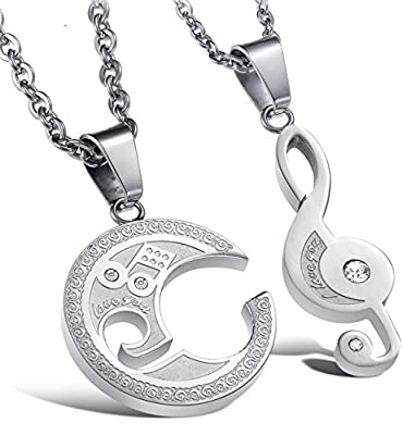 Jstyle Jewelry Stainless Steel Best Friend Puzzle Pendant,Music Note Engraved,with Chain