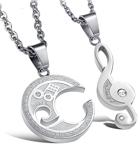 Jstyle Jewelry Stainless Steel Best Friend Puzzle Pendant,Music Note Engraved,with Chain ()
