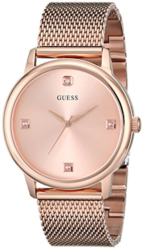GUESS Men's U0280G2 Dressy Rose Gold-Tone Watch with Plain Rose Gold Dial  and Mesh Deployment Buckle