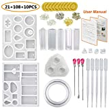 JOFAMY Resin Casting Molds with Manual, 13 Pcs Resin Jewelry Molds+100 Pcs Screw Eye Pins,4 Paris Earring Pins,3Pcs Metal Stirrers,5Pcs Plastic Droppers,10Pcs Finger Cots for Resin Jewelry Making