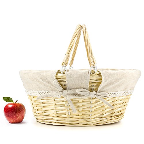 Durior Wicker Basket Woven Picnic Basket Empty Oval Willow Large Storage Basket with Double Handles Fruit Serving Baskets Easter Basket 15.5 L 11.5 W 7 H Natural