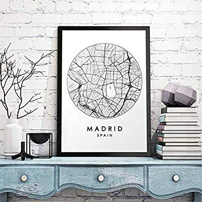 Impresión Y Póster, Mapa De La Ciudad De Madrid, Arte De La Pared ...