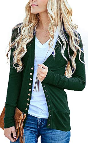 Women's S-3XL Solid Button Front Knitwears Long Sleeve Casual Cardigans H-Green M