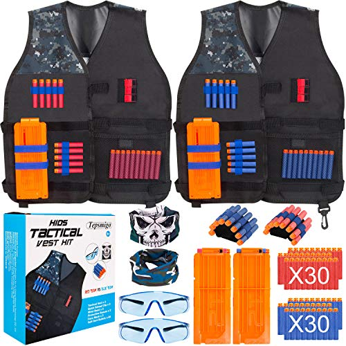 TEPSMIGO 2 Pack Tactical Jacket Vest Kit Compatible with Nerf Guns N-Strike Elite Series, Suits for Kids Boys Girls Over 5 Years (Best Girl Nerf Gun)