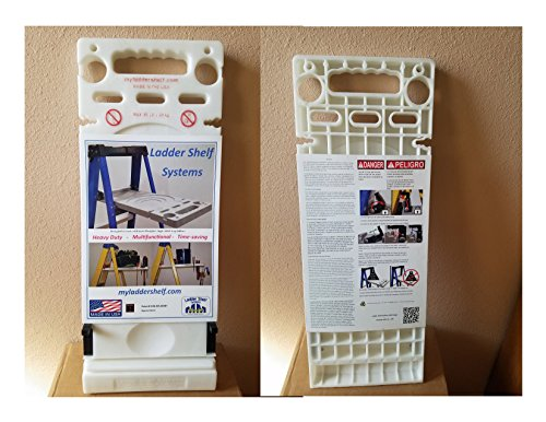 Ladder Shelf Systems -Heavy Duty -Multifunctional -Time saving - Professional Grade molded plastic pail shelf - attaches to most Warner, Louisville, and Keller brand single sided A-frame step ladders by Ladder Shelf Systems (Image #5)