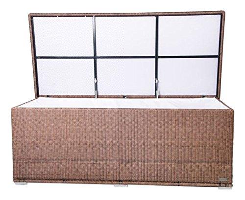 OUTFLEXX Kissenbox aus Polyrattan 204x94x75cm, hellbraune Rundfaser