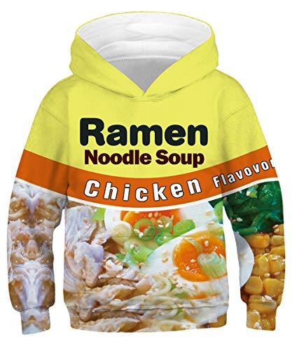 (GLUDEAR Child Activity Sports Hoodie Long Sleeve 3D Funny Printed Sweatshirt Pullover Birthday Gift,Chicken Noodles,6-8 Years)