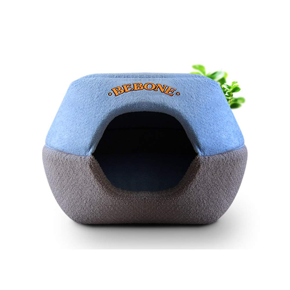 bluee M bluee M Hamburger Pet Nest Dog Litter Pet Bed Cat Stash Suitable for All Seasons Pet Nest Small Animal Beds (color   bluee, Size   M)