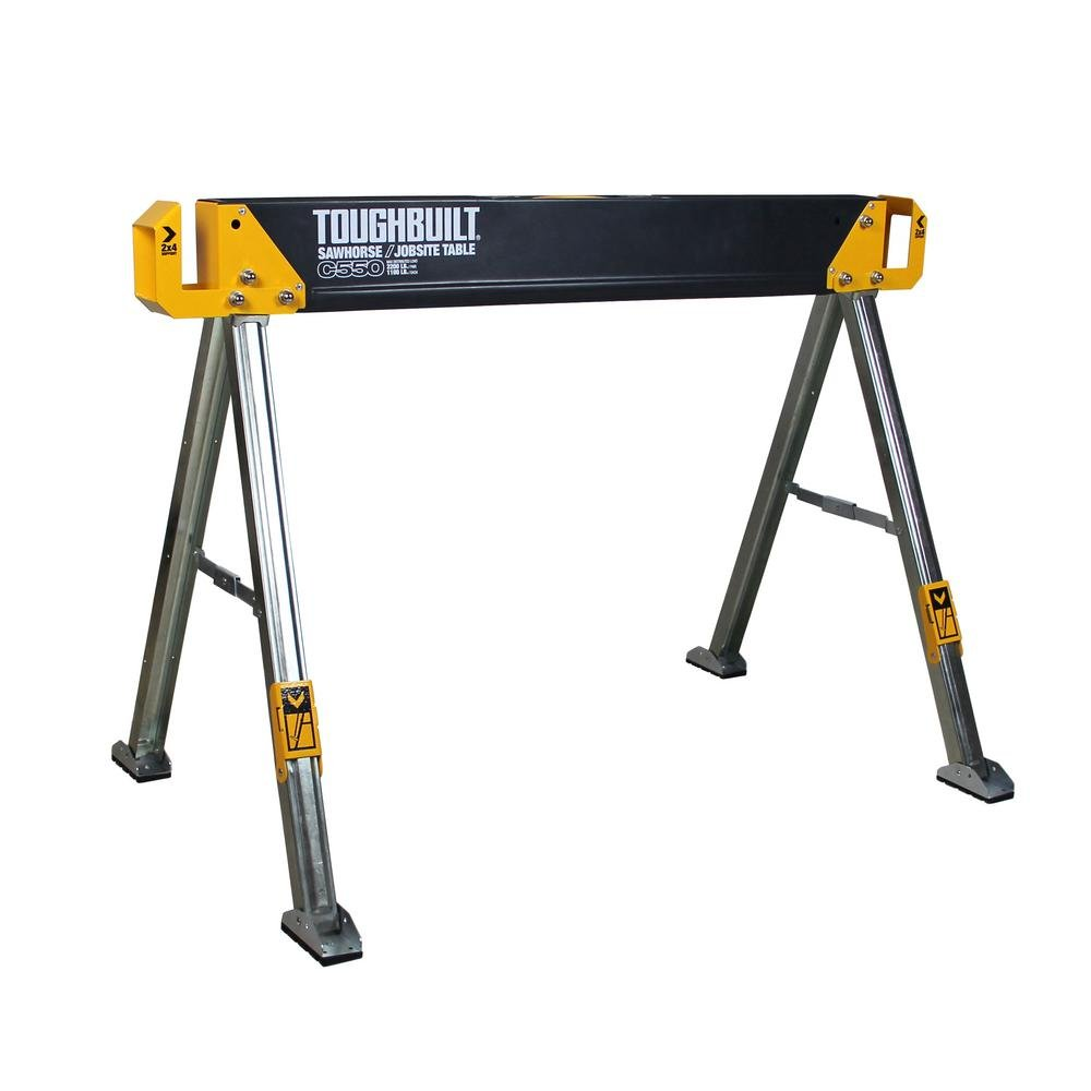 ToughBuilt - Folding Sawhorse/Jobsite Table - Sturdy, Durable, Lightweight, Heavy-Duty, 100% High Grade Steel, 41.5-Inch, Easy Carry Handle (TB-C550) by ToughBuilt