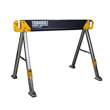 ToughBuilt - Folding Sawhorse/Jobsite Table - Sturdy, Durable, Lightweight, Heavy-Duty, 100% High Grade Steel, 1300lb Capacity, Pivoting Feet, Adjustable Height Legs, Easy Carry Handle (TB-C700) NEW