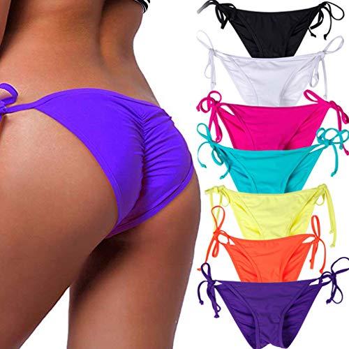 STARBILD Women's Sexy Brazilian Bikini Bottom with Tie-Side Cheeky V Cut Thong Swimsuit XL Purple