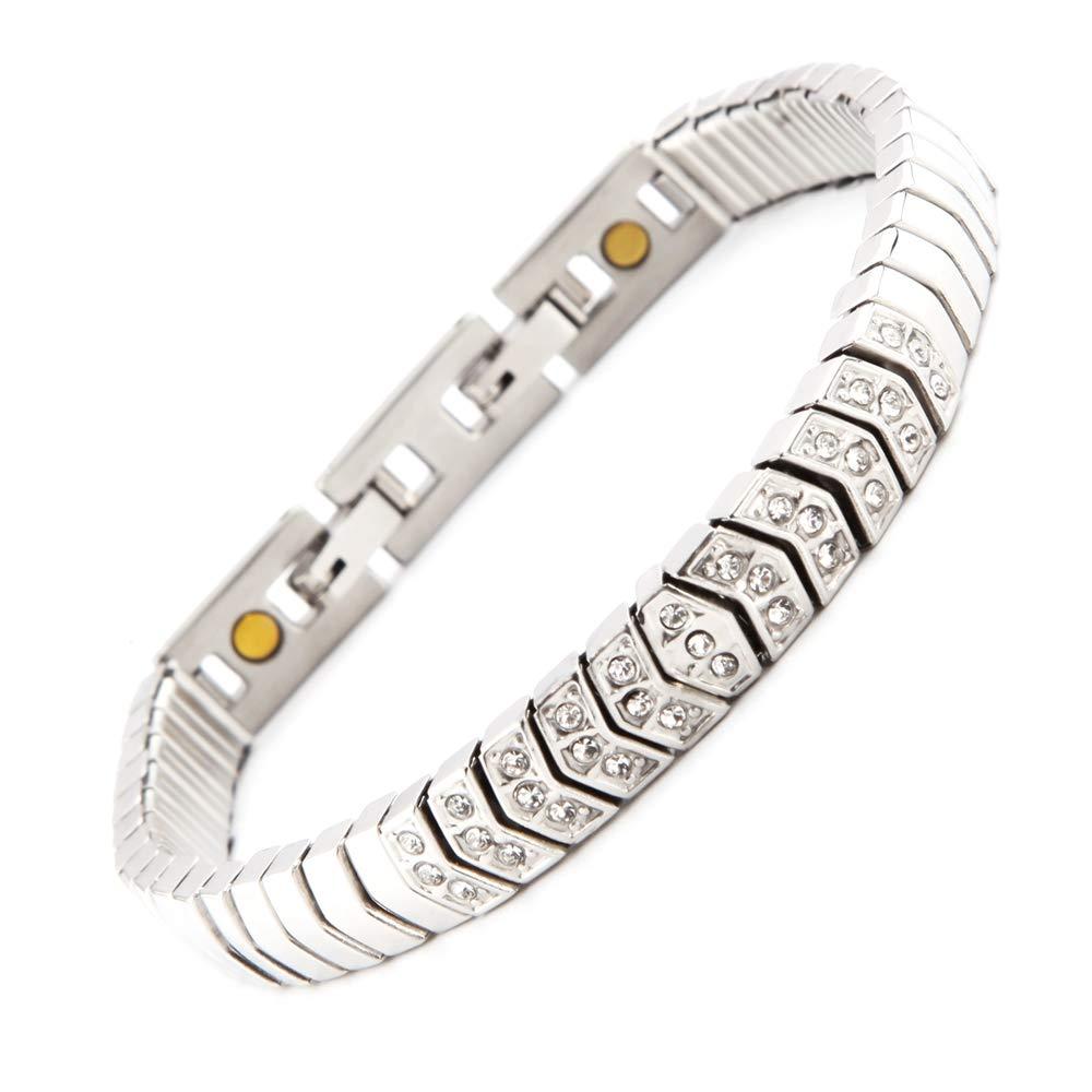 Bijoux de Bras Flexible Serpenti Flex Bracelet magnétique avec 33 Mousseux Energetix de Cristaux Swarovski® 4you 1850 MAGNETIX 2222 M L - XL + Pochette