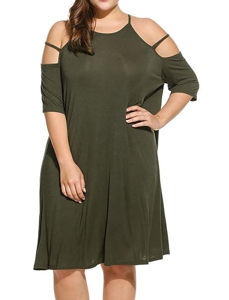 6724c70e32b Locryz Women Cold Shoulder Short Sleeve Casual Loose Tunic T Shirt Dress  Plus Size (L