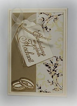 5 X Hochwertige Einladungskarten Zur Goldenen Hochzeit Creme Gold Handmade