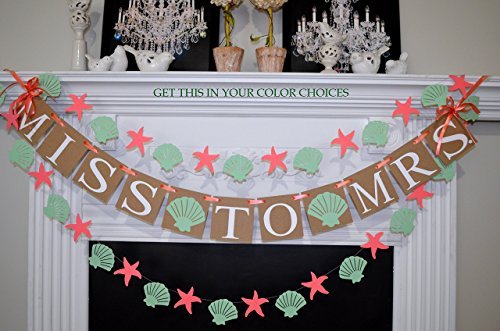 Beach Bridal shower decorations, Miss to Mrs banner, Nautical Bridal shower decorations, Seashell and starfish banner, Miss to Mrs banner,