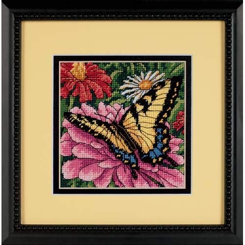 Dimensions Needlepoint Kit 5 W x 5 H Butterfly on Zinnia Needlepoint