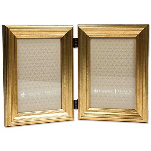 4x6 Hinged double Sutter Burnished Gold Picture - Double Frame Gold