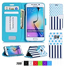 Samsung Galaxy S6 Edge Wallet Case Cover, FYY® Premium Leather Flip Case Stand Cover with Card Slots and Note Holder for Samsung Galaxy S6 Edge Cyan Dot