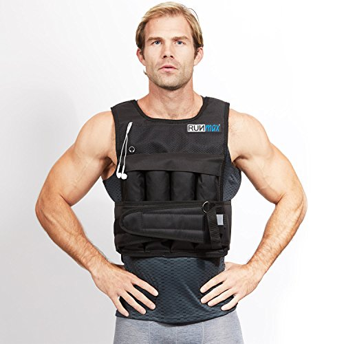 RUNmax rf20nop Run Fast 12lb-140lb Weighted Vest (Without Shoulder Pads, 20lb) (Vest Hidden Weighted)