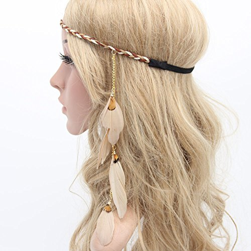 MANDI HOME Women Boho Style Festival Feather Headband Hippie Weave Hairband - Feather Hippie