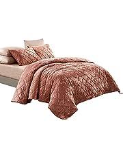 Wonderful Velvet Quilt Set Lightweight Comforter Set for All Season Diamond Pattern Machine Washable