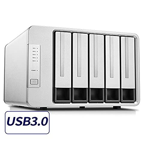 TerraMaster D5-300 USB3.0 (5Gbps) Type C 5-Bay External Hard Drive Enclosure Support RAID 5 Hard Disk RAID Storage - Hard Disk Unit