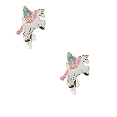 b162895be Image Unavailable. Image not available for. Colour: Claire's Girl's Flying  Unicorn Clip On Earrings Rainbow