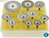 "SKEMiDEX--- Diamond Saw Cut Off Discs Wheel Blades 10pc Rotary Tool Set 1/8 Shank NEW Plastic Storage Case with Clear Lid 5pc 8 Holed Wheels: - Dia: 1"", 7/8"", 7/8"", 3/4"", & 3/4"""