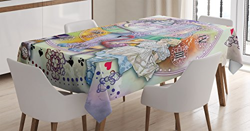 Alice in Wonderland Decor Tablecloth by Ambesonne, Magical Fantasy World of Adventure Clock Flamingo Cheshire Cat Rabbit, Dining Room Kitchen Rectangular Table Cover, 60 X 90 Inches, (Alice In Wonderland Tablecloth)