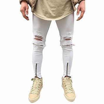 LuckyGirls Pantalones Hombres Vaqueros Rotos Originales ...