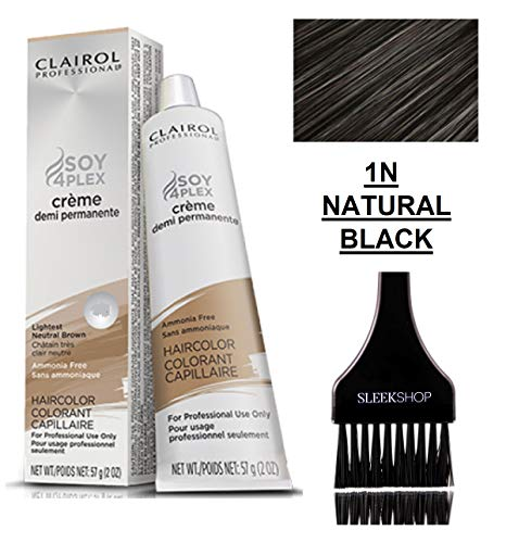 Clairol Soy4Plex DEMI PERMANENT CREAM HAIR COLOR (w/Sleek Tint Brush) Ammonia-Free Creme Demi Permanente Professional Haircolor Dye (1N NEUTRAL BLACK)