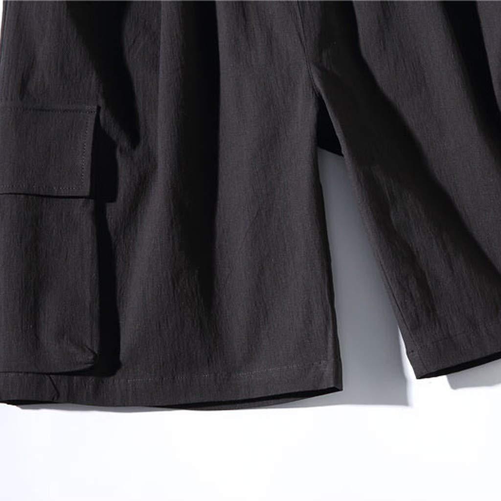 Chihop Uomo Pantaloni Corti Cargo Pantaloncini da Tempo Bermuda Cargo Shorts Militari Pantaloni Tasconi con Elastico M-5XL