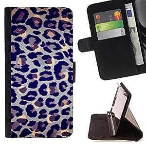 FUR BLUE GREY LEOPARD PATTERN ART ANIMAL/ Personalizada del estilo del dise???¡Ào de la PU Caso de encargo del cuero del tir????n del soporte d - Cao - For Samsung Galaxy S3 III I9300