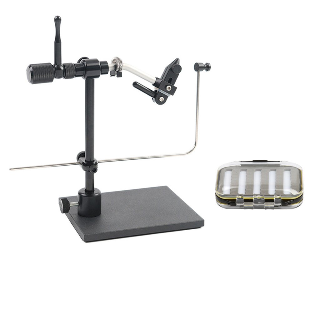 MonkeyJack Rotatable Fishing Fly Tying Vise Fly Hook Tool Artificial Flies Making DIY & Double Side Fly Fishing Box