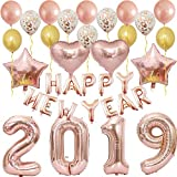 Large Rose Gold 2019 Happy New Year Balloons-Happy New Year Banner Decoration,Rose Gold Confetti Latex Balloons for Prom, Home,Senior Graduation,New Year Eve Party Supplies as Photo Booth Backdrops