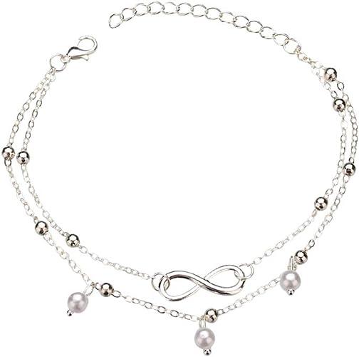 Perlas de Perlas Tobillera Infinito Cadena de pie Joyas de Playa Bohemio Tobillera/Pulsera Joyas de Mujer Regalo para Ella