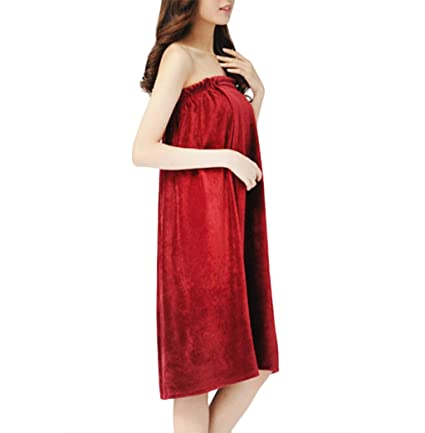 Liying - Mujer super agua absorbente suave esponjoso Cover Up sin tirantes vestido de tubo de baño Spa albornoz toalla de baño albornoz Housecoat, ...