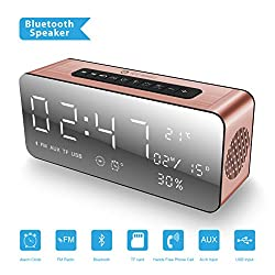 [2018 New Updated] ICE-BINGO A10 Bluetooth Speakers, Wireless Bluetooth Home Stereo Speaker with HD Sound/Bold Bass, Alarm Clock/FM for Echo Dot, iPhone, Gift.,Android (Rose)