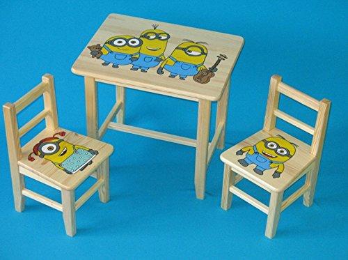 Set in legno tavolino con 2 sedie per cameretta bambini. M27. Ottima idea regalo.Completo in pino con disegno a mano. ipp