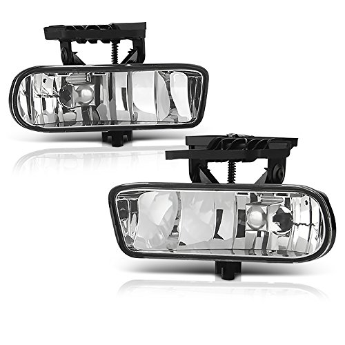 VIPMOTOZ Chrome Housing OE-Style Front Fog Light Driving Lamp Assembly For 1999-2002 GMC Sierra 1500 2500 3500 & 2000-2006 Yukon XL, Driver & Passenger Side