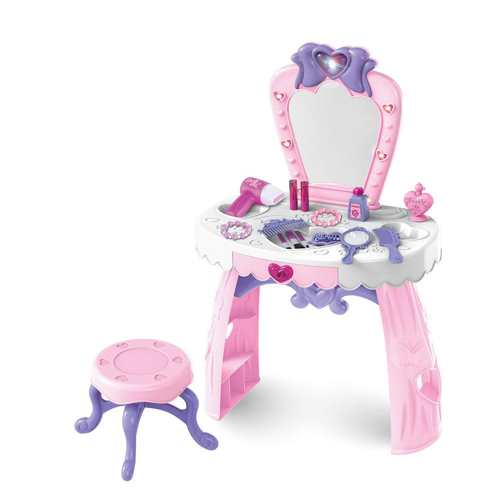 Binory Toddler Fantasy Vanity Beauty Dresser Table with Lights Sounds and Chair,US Fast Shippment Fashion Makeup Accessories for Princess Themed Party,Kids Pretend Play Toys Gift for 2,3,4 yrs Girls