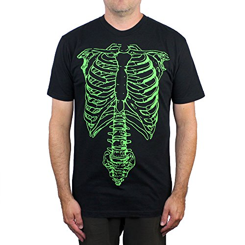 Cult Classic Shirts Skeleton T-Shirt,Black and Green,Large -