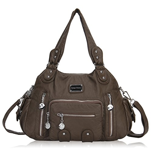 Veevan Washed Leather Vintage Hobo Style Shoulder Handbags (Taupe-B) Taupe