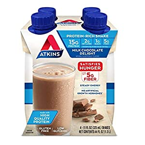 Atkins Milk Chocolate Delight Protein-Rich Shake. Rich and Creamy with High-Quality Protein. Keto-Friendly and Gluten Free. (4 Shakes)